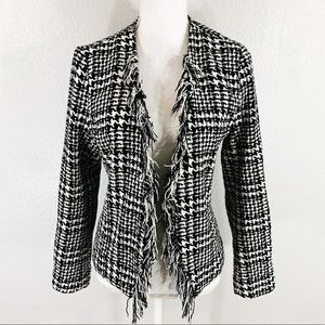 For Cynthia black knit houndstooth fringe jacket